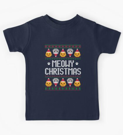 Ugly Christmas Sweater - Cat Kids Tee