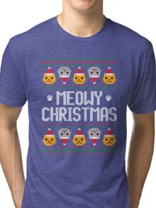 Ugly Christmas Sweater - Cat Tri-blend T-Shirt