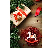 Red and green Christmas decorations Photographic Print