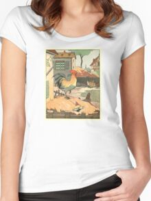 Rooster, Hens and Chicks at the Farmhouse Women's Fitted Scoop T-Shirt