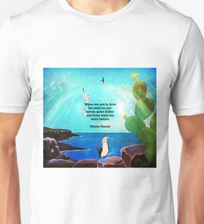 When We Are In Love Inspirational Quote With Blue Ocean Flying Birds Painting Unisex T-Shirt
