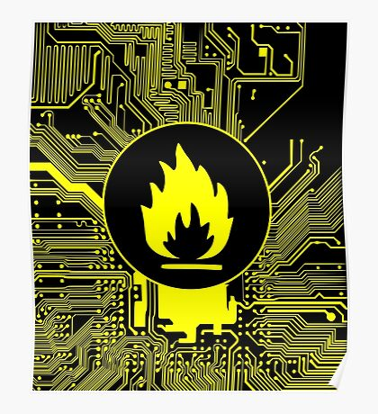 Cybergoth - Flammable (yellow) Poster