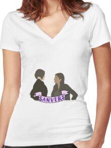 Sanvers Women's Fitted V-Neck T-Shirt