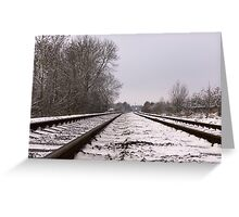 Winter Railway Tracks Greeting Card