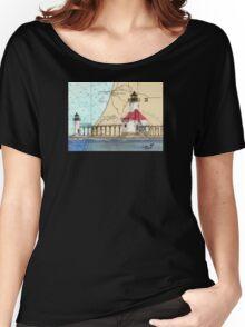 St Joseph Lighthouse Lake MI Chart Cathy Peek Women's Relaxed Fit T-Shirt