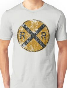 Distressed Railroad Crossing Sign Very Cool Vintage Unisex T-Shirt