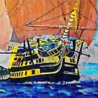 A digital painting of The Victory Leaving Gibraltar by Dennis Melling