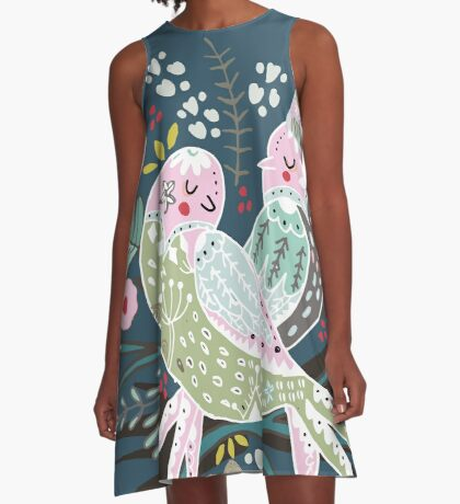 Holiday Birds Love II A-Line Dress