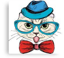 Fashion Portrait of Hipster Cat  Canvas Print
