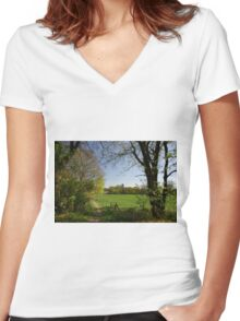 Rural View Women's Fitted V-Neck T-Shirt