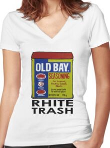 Old Bay Can Women's Fitted V-Neck T-Shirt