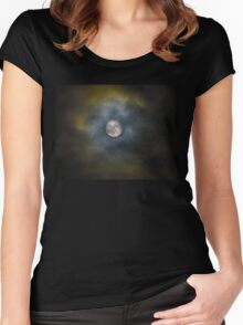 Cloudy super moon Women's Fitted Scoop T-Shirt