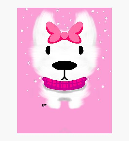 A fluffy westie snow day  Photographic Print