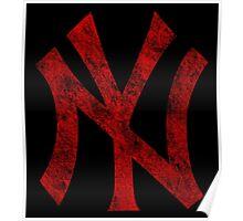 °BASEBALL° NY Yankees Rust Logo Poster