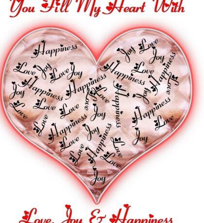 Love Joy & Happiness Pink Heart  Sticker