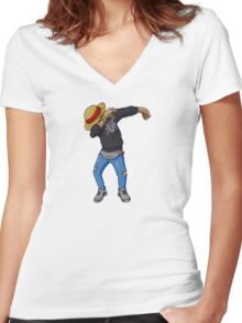 Luffy is Dab Women's Fitted V-Neck T-Shirt