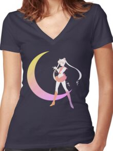 Sailor Moon Pastel Gradient Women's Fitted V-Neck T-Shirt