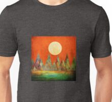 Abstract Landscape, Full Moon Mountains Orange Sky Unisex T-Shirt