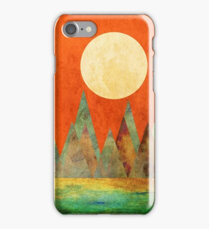 Abstract Landscape, Full Moon Mountains Orange Sky iPhone Case/Skin