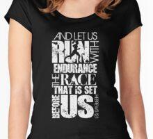 HEBREWS 12:1 RUN/RACE VERSE (WHITE) Women's Fitted Scoop T-Shirt