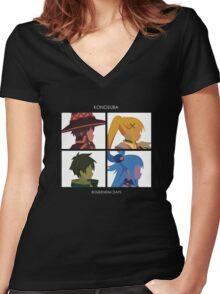 KonoSuba: Boukensha Days Women's Fitted V-Neck T-Shirt