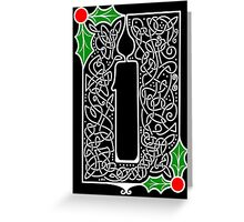 Celtic Knotwork Candle - Black Greeting Card
