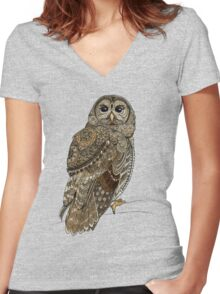 Barred Owl Tangle Women's Fitted V-Neck T-Shirt