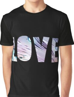LOVE,water,black,blue shades, modern,trendy,typography,cool text Graphic T-Shirt