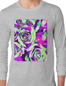 pink purple and green roses  Long Sleeve T-Shirt
