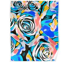 blue pink white and yellow roses Poster