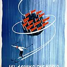 Ski Around the World Via Pan American Airlines Vintage Travel Poster by Framerkat