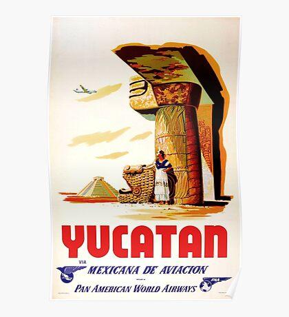 Yucatan Mexicana de Aviacion Via Pan American World Airlines Vintage Travel Poster Poster