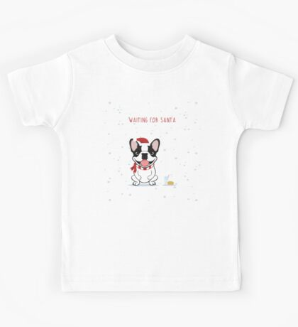 Frenchie Waiting for Santa - Brindle Pied Edition Kids Tee