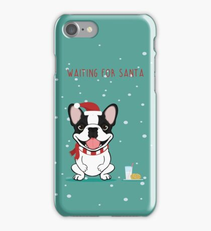 Frenchie Waiting for Santa - Brindle Pied Edition iPhone Case/Skin