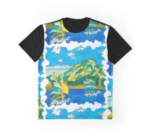 OCEAN MOUNTAIN SAILING BOATS FOLK ART Graphic T-Shirt