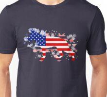 German Shepherd: American Flag Unisex T-Shirt