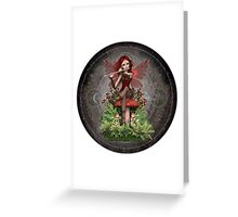 Red Coral Fairy ~ Magic Flute Greeting Card
