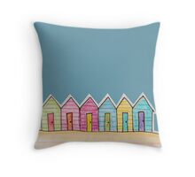 Pencil Beach Huts Throw Pillow