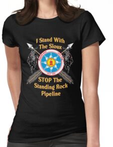 Standing Rock Crossed Arrows - Stop The Pipeline Womens Fitted T-Shirt