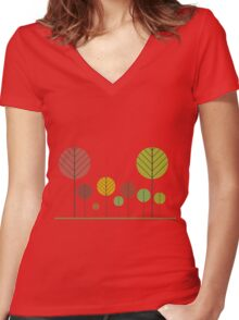 Autumn forest! Women's Fitted V-Neck T-Shirt