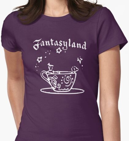 Vintage Stamped Fantasyland Tea Cups white Womens Fitted T-Shirt