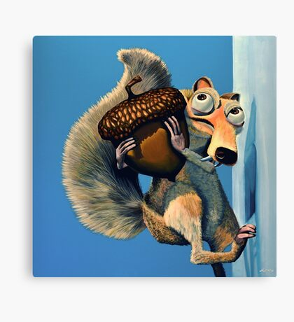 Scrat of Ice Age Painting Canvas Print