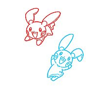 Plusle and Minun Best Friends shirt Photographic Print