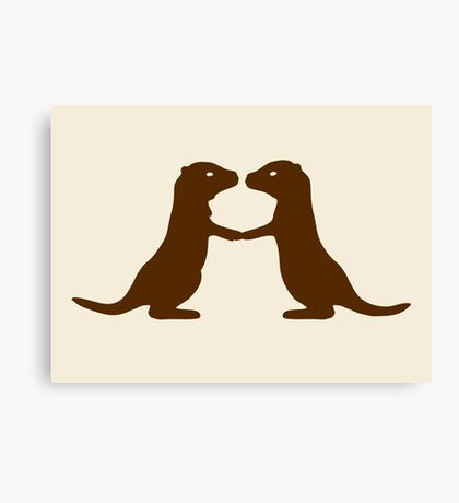 Otters Holding Hands Canvas Print