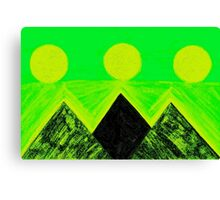 Pyramids Of Other Worlds In Green and Yellow Canvas Print