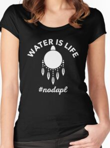 Water is Life NoDAPL T-Shirt Women's Fitted Scoop T-Shirt