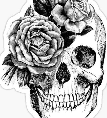 Floral Skull Anatomical Design Sticker