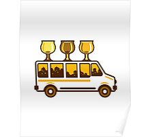 Beer Flight Glass Van Retro Poster