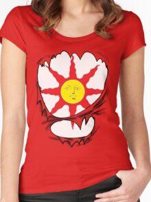 3D praise the sun logo Women's Fitted Scoop T-Shirt