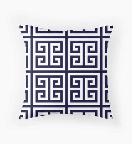 Greek Key Navy Blue And White Pattern Throw Pillow